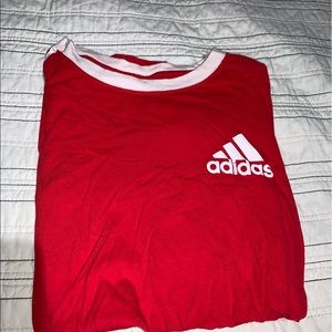 Red adidas shirt with white stripes